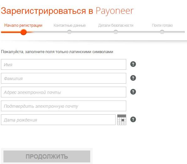 Заказать карту Payoneer